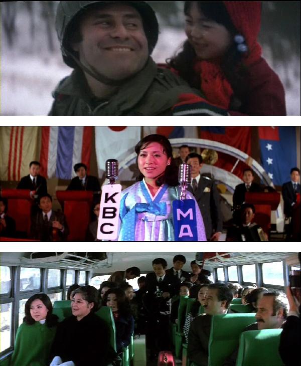 Illustration 3-5: Kærlighed iblandt (Det sydkoreanske kunstfilm produktionsselskab. 1972). (øverst) I Koreakrigens kaos frelses og adopteres Michie af den velhavende amerikanske soldat Brown. Hun readopteres senere af den japanske elitefamilie Ichagawa. (midten) Som talentfuld vokalist optræder Michie i en international sangkonkurrence, hvilket muliggør en massemedieret søgning efter bio-moren. (nederst) Filmen ender lykkeligt idet Michie genforenes med bio-moren og der er udsigt til et fortsat harmonisk forhold til de japanske og amerikanske adoptivforældre som ses i venstre side af bussen og med den koreanske verdenspresse på de bagerste sæder.