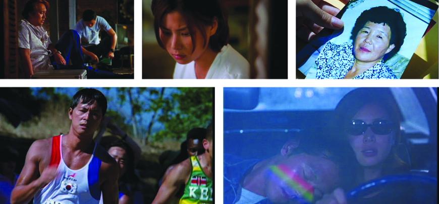 Illustration 7-11: Kærlighed (Medborgerproduktion. 1999). (øverst) Brad fortæller Jenny at bio-moren i Korea ikke kan møde hende. Jenny kompenseres for morens fravær med et foto samt det fremmeste af koreansk maskulinitet. (nederst) Til slut er de elskende vendt tilbage til fødelandet. Jenny ses bag bilrettet, hvilket kan læses som en anerkendelse af hende som voksen kvinde, kommende hustru og mor etc.